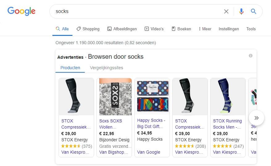 Google Shopping example - socks