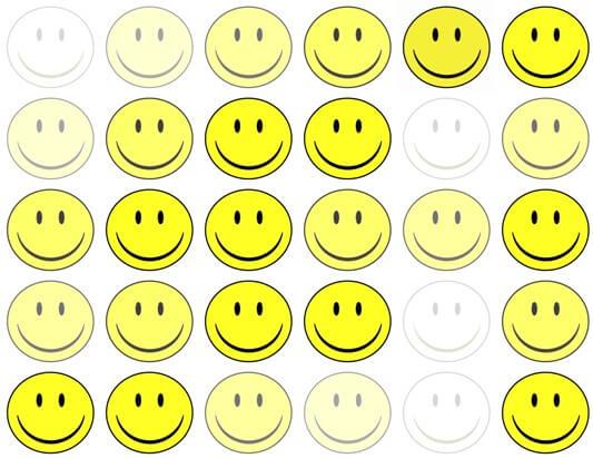 Veel smileys, sommige fel en sommige vervaagd. Blij en minder blij.