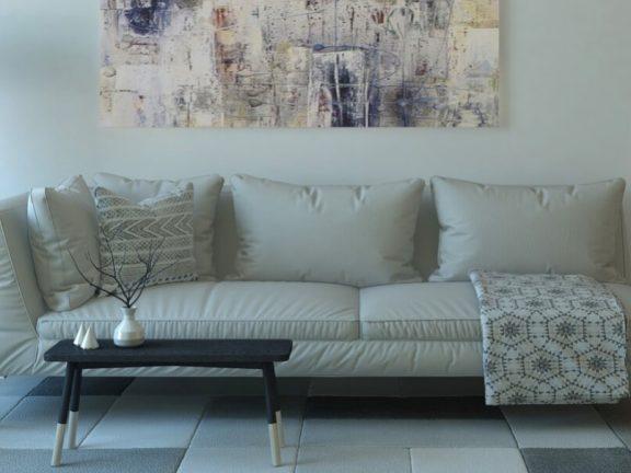 Hoekbank schilderij en stijlvolle meubels