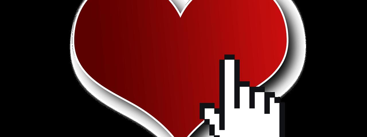 Internetliefde - hartje met digitaal klikhandje