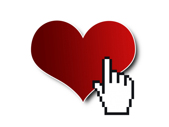 Internet love - heart with digital click hand