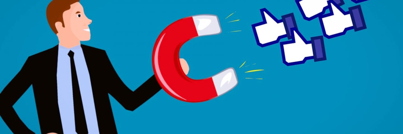 Cartoon: zakenman met magneet trekt Facebook-duimpjes aan