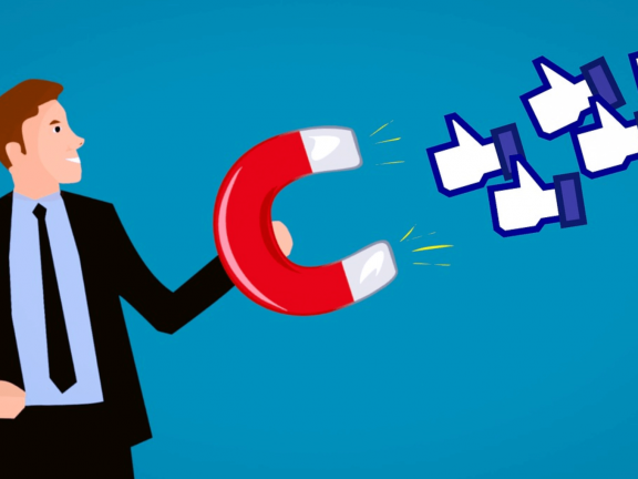 Cartoon: Businessman With Magnet Attracts Facebook Thumbs