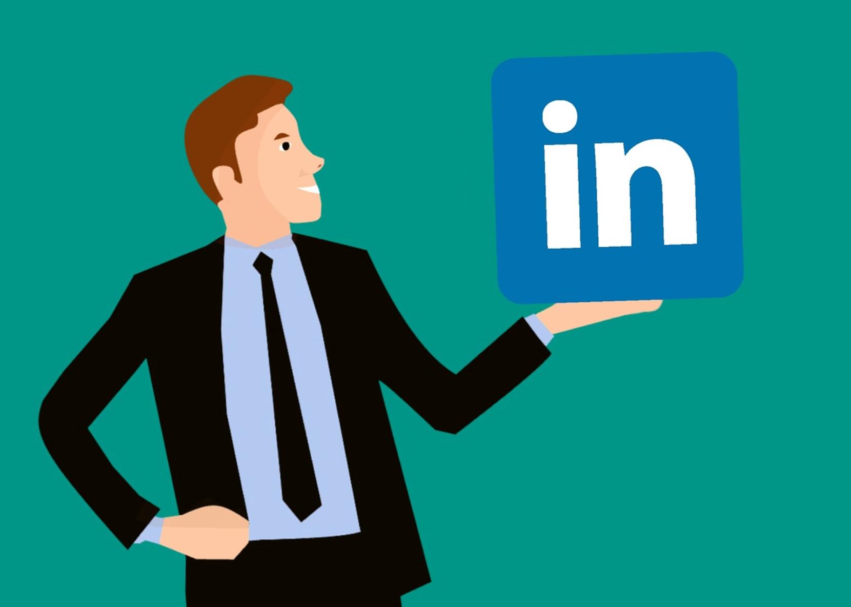 Cartoon man with the LinkedIn logo in hand.