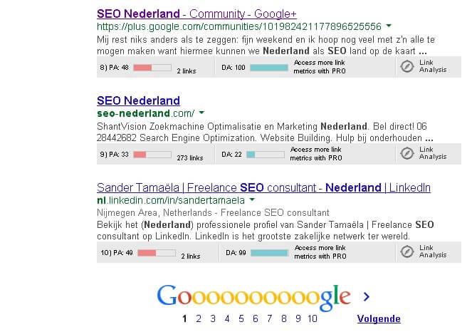 SEO Nederland zoekresultaten