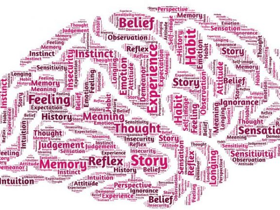 Brain with words about content marketing