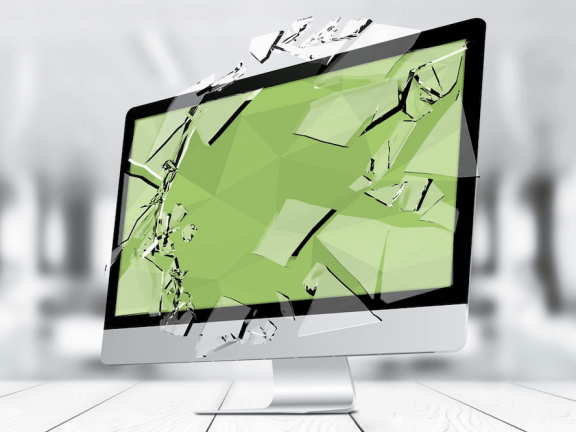 Een iMac met een gebroken glas.