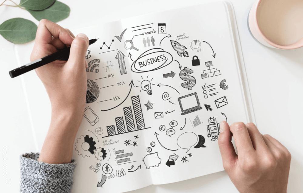 OGSM Business plan: hand op papier maakt een tekening