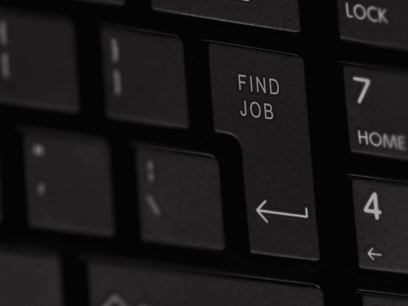 A keyboard with the 'Find job'