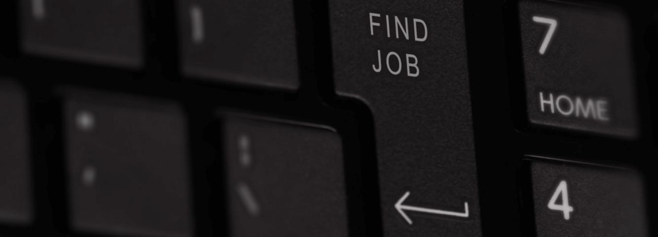 Toetsenbord met 'find job' op een toets.