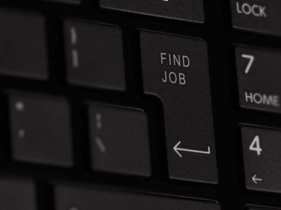 Keyboard with 'find job' on a key.