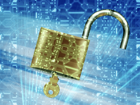 A lock with a blue background