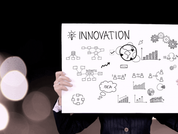 A sign with the word 'INNOVATION'
