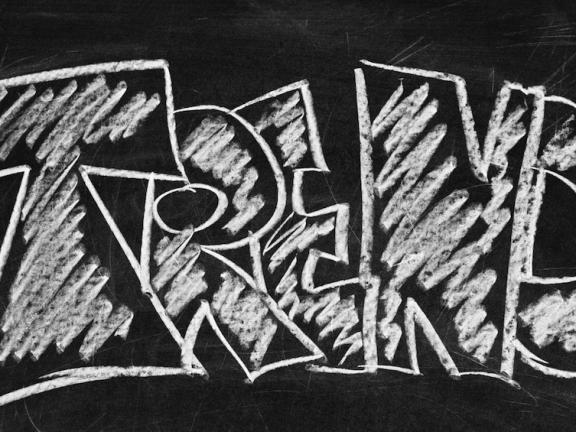 The word 'TREND' on a blackboard.